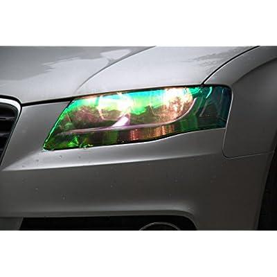 DIYAH 12 X 48 inches Self Adhesive Shiny Chameleon Headlights Tail Lights Fog Lights Films,Film Sheet Sticker,Tint Vinyl Film (Clear): Automotive