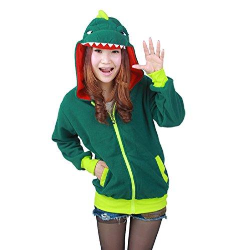 DarkCom Unisex Cute Fleece Hoodie Cartoon Dinosaur Zipper Sweatershirt Long Sleeve Tops (Adult Dinosaur Sweater)