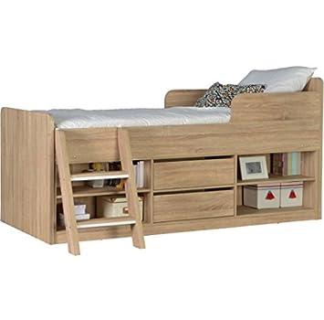 Letto a soppalco in legno contemporaneo con ampio contenitore ideale per bambini Sonoma Oak Effect Veneer