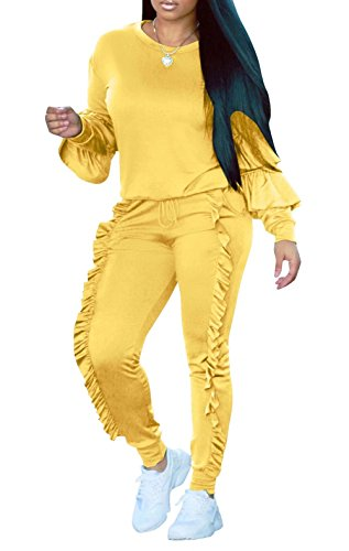 Women's Ruffle Tracksuit Long Sleeve 2 Piece Suit Sports Top and Pant Yellow XXL