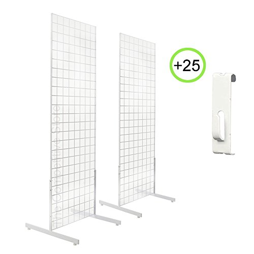 2' x 6' 2-Pack Gridwall Panel Tower & T-Base Display + 25 Utility Hooks White