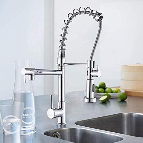 スプリングインクジェットヘッドのノズル調節可能なバルブレバー蛇口のスプレークロムキッチンミキサーキッチン範囲360°トラクションピン駆動と台所の蛇口,通常のデクローム