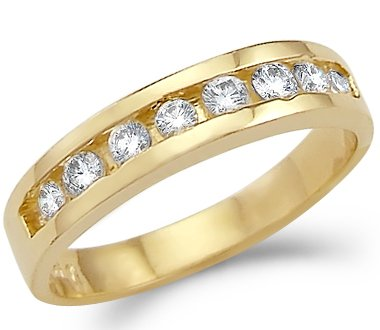 Size- 7.5 - Solid 14k Yellow Gold Ladies Channel Set CZ Cubic Zirconia Wedding Band Ring 1.5 ct