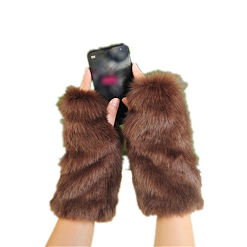 LL-Partner Fingerless Fur Gloves With Short Sleeves-Arm Wrist Warmers Mittens Touch Screen