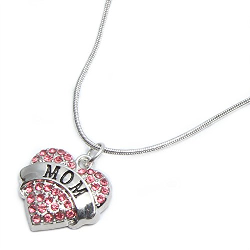 Mom Mother Gifts Heart Pendant Necklace Women - Red Crystal Silver Jewelry