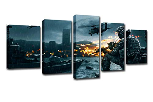 FOLOIN HD Printed Battlefield Scenario Painting 5 Piece Canvas Art Print Room Decor Print Poster Picture Canvas