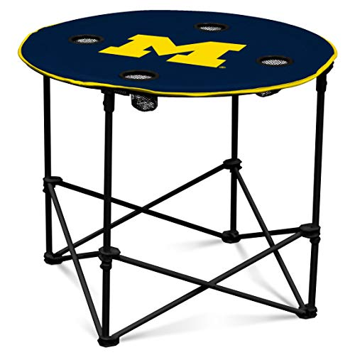 Michigan Wolverines Collapsible Round Table with 4 Cup Holders and Carry ()