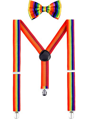 Rainbow Color Cosplay Suspenders and Adjustable Neck Bow Tie Set for Party Accessories, 2 Pieces Totally (Style 1) ()