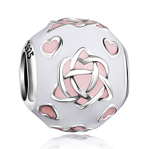 Angemiel 925 Sterling Silver Good Luck Irish Triangle Celtic Knot Heart Enamel Charms Bead for European Snake Chain Bracelets (Womens Celtic Charm)