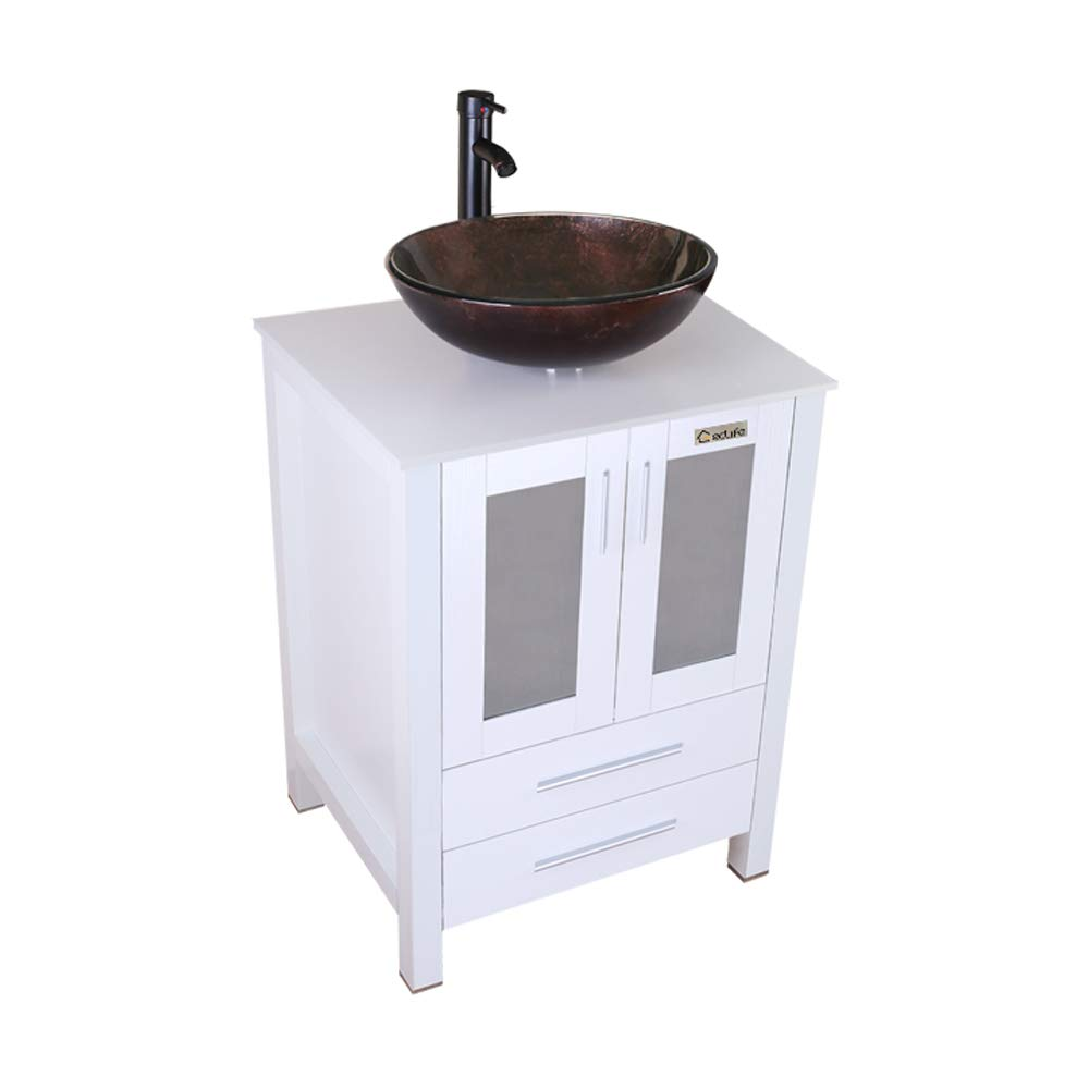 Eclife 24 Bathroom Vanity And Sink Combo White Small Vanity Round