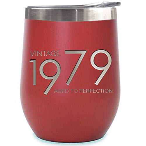 1979 40th Birthday Gifts for Women and Men Red 12 oz Insulated Stainless Steel Tumbler   40 Year Old Presents   Mom Dad Wife Husband Present   Party Decorations Supplies Anniversary Tumblers Gift th