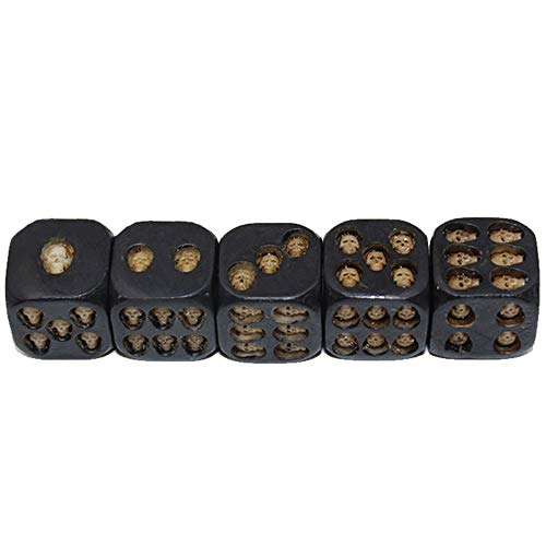 HORHIN Set of 5 Pcs Black Skull Dice Grinning 3D Skeleton Dice Scary Novelty Board Game for Club Pub Party