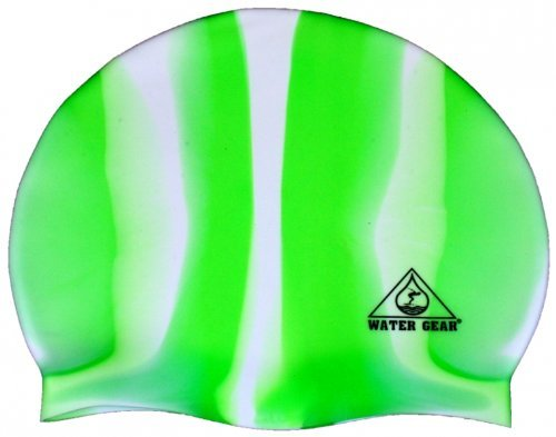 Water Gear Jazz Silicone Swim Cap Green/White Candy Stripe