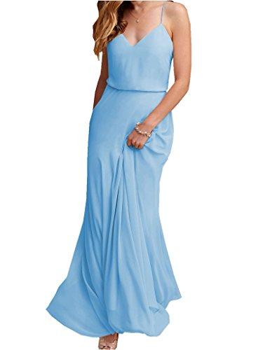 Dress Amore Bridal Wedding Neck Maxi Women V Chiffon Blue Bridesmaid Strap Spaghetti Beach TPBqTwrx