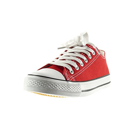 Angkorly - Chaussure Mode Baskets femme Talon plat 2.5 CM - Rouge