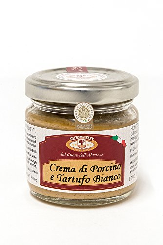 Truffle sauce 80g - Ingredients: porcini mushrooms, white truffles 3%, extra virgin olive oil, spices, pepper, truffle brew, salt and aromas - (DF13)