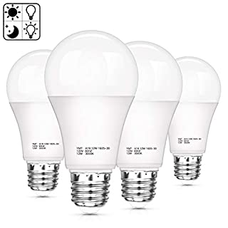 Dusk to Dawn Light Sensor Bulbs, A19 12W(100 Watt Equivalent) LED Auto On Off Light Bulbs, 1200 Lumens, E26 Base, Warm White 3000K LED Smart Sensor Lights Outdoor Indoor for Porch Garage Yard, 4-Pack
