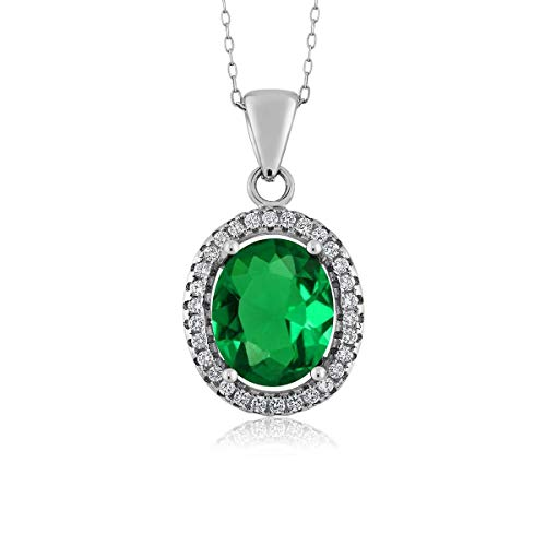 Pendant Silver Oval Emerald Sterling - Gem Stone King 4.03 Ct Oval Green Simulated Emerald 925 Sterling Silver Pendant