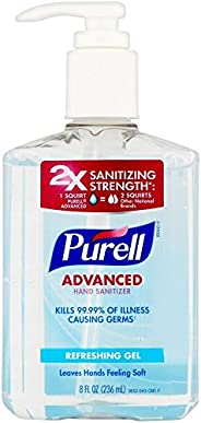 PURELL Advanced Hand Sanitizer, Refreshing Gel, 8 fl oz Sanitizer Table Top Pump Bottles (Pack of 2) - 9652-06