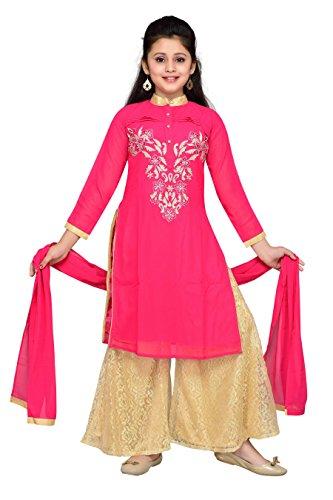 Aarika Girl's Self Design Party Wear Palazzo Suit Set (1028-RANI_32_10-11 Years) by Aarika