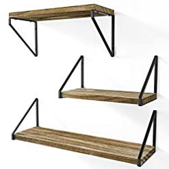 Entryway Love-KANKEI Floating Shelves Rustic Shelves Wall Mounted Set of 3 Wall Storage Shelves for Living Room, Bedroom, Kitchen…