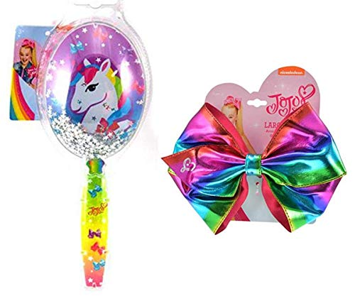 JoJo Girls Siwa Signature Collection Paddle Hair Brush & Large Hair Bow (Confetti Sparkle Glitter Unicorn Brush & Metallic Rainbow Bow)