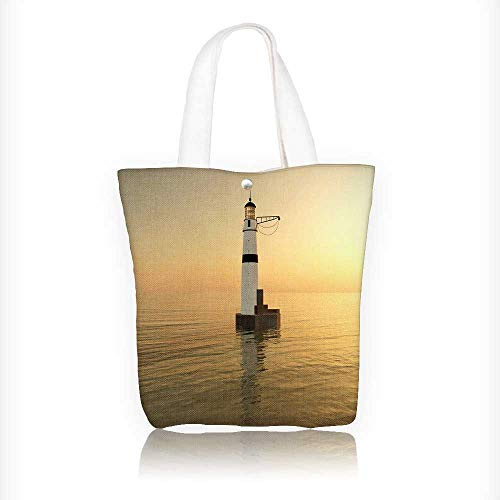 Canvas Tote Bag lighthouse Hanbag Women Shoulder Bag Fashion Tote Bag W11xH11xD3 INCH