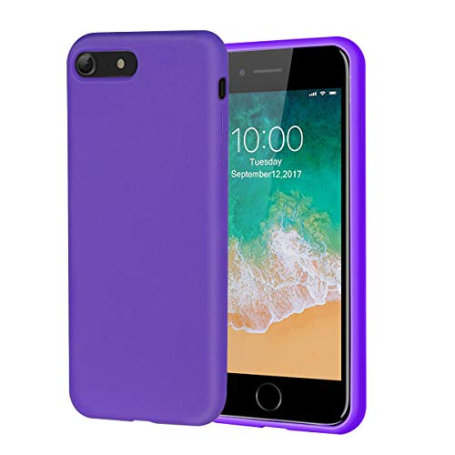 (iPhone 8 Case,iPhone 7 Case,Soft Silicone Gel Rubber Case with Microfiber Lining Cushion and Tempered Glass Screen Protector Shockproof Full Body Protective Case for iPhone 8,iPhone 7 (Blue Purple))
