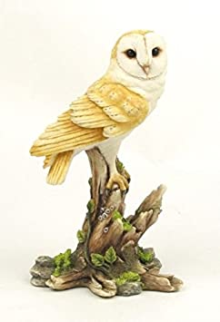 5.13 Inch Sweet Barn Owl on Branch Decorative Figurine, Cream Color