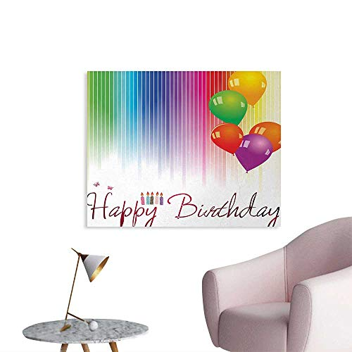 Tudouhoho Birthday Custom Poster Rainbow Colored Striped Backdrop Balloons Stylized Lettering Candles Artwork Prit Wall Paper Multicolor W48 xL32 ()