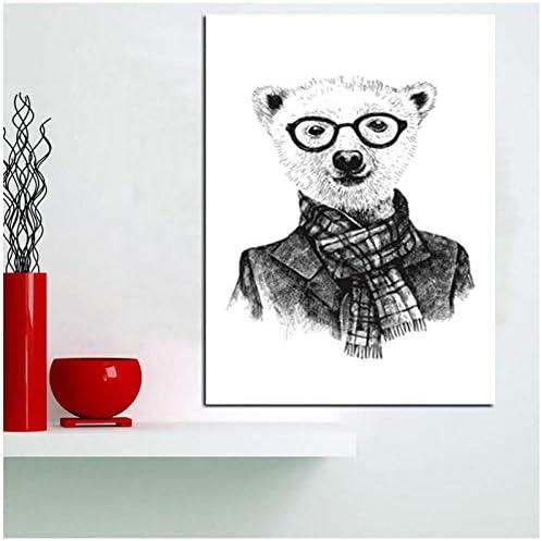 ラインシンプル動物キャンバスアートプリント、ヘラジカ、ホッキョクグマヘッドセット壁写真壁アートの装飾-50x70cmなしフレーム