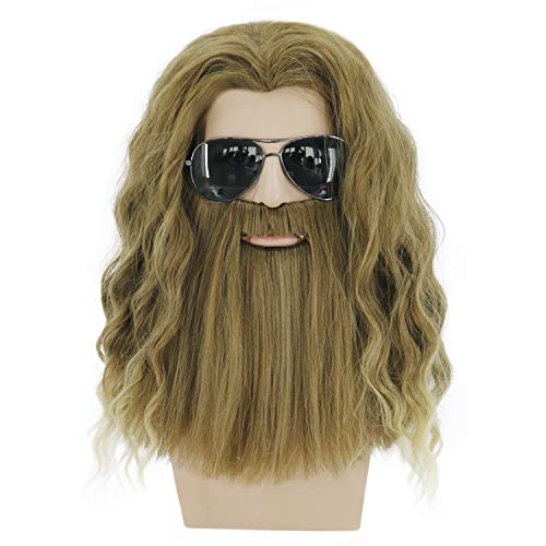 Mildiso Men Wig For Thor Cosplay Golden Brown Mustache Wig Import It All