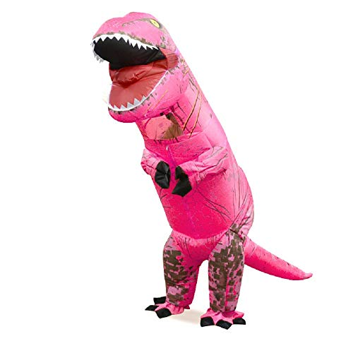 Inflatable t-rex Dinosaur inflate Tyrannosaurus Costumes Christmas,Halloween Cosplay Clothes for Adults (Pink)]()