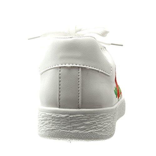 Angkorly - Zapatillas de Moda Deportivos low mujer fantasía bordado acabado costura pespunte Talón tacón plano 0 CM - Blanco