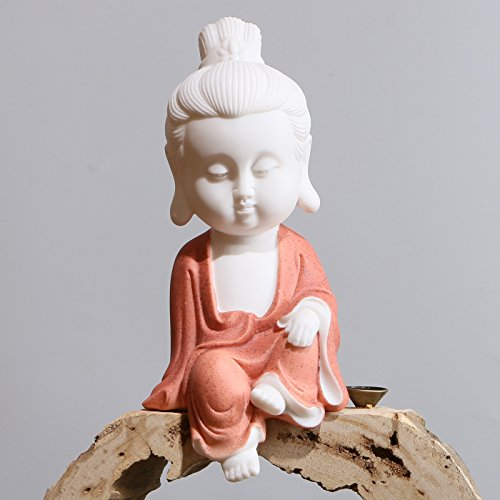 White Ceramic Little Cute Buddha Statue Decoration Buddha Buddhist Monk Figurine (Red) (Leopard Porcelain Figurine)