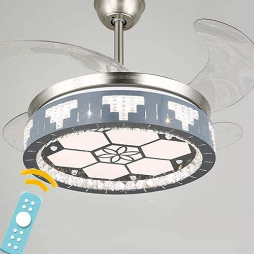 Shhjjyp 42 Smart Invisible Ceiling Fan Led Lamp With 3 Changed And Dimming Light Color Retractable Remote Ceiling Fan Light For Indoor Living Room Dining Room Bedroom Light Fan Chandelier A