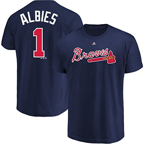 Outerstuff Ozzie Albies Atlanta Braves #1 Youth Player Name & Number T-Shirt Navy (Youth Medium ()