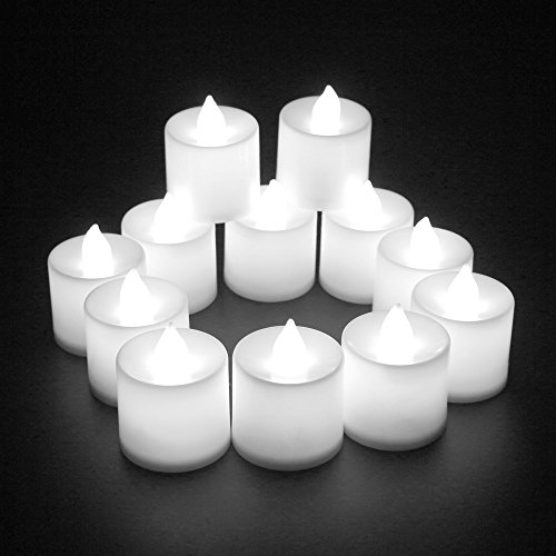 ELlight 24 PCS (2 Dozen Pack) Battery Operated Candles Flameless LED Tealight Candles Votive Style Romantic Date, White Light (Votive Lights Battery Operated)