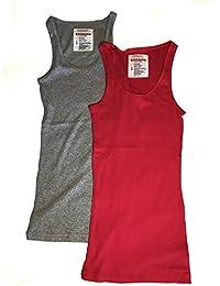 2 Pack Zenana Women\'s Ribbed Tank Tops (H Gray, Red)