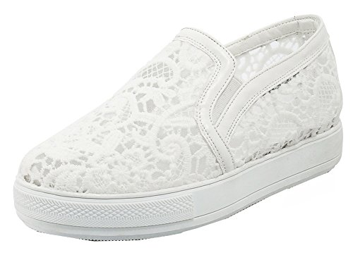 SHOWHOW Women's Comfort Round Toe Slip On Sneakers Mesh White 7 B(M) US by SHOWHOW