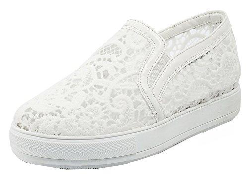 SHOWHOW Women's Comfort Round Toe Slip On Sneakers with Mesh White 8.5 B(M) -