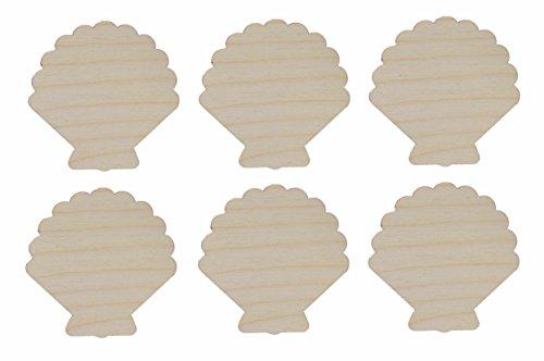 - Sea Shell Cut Outs Unfinished Wood Mini Shells 2.5