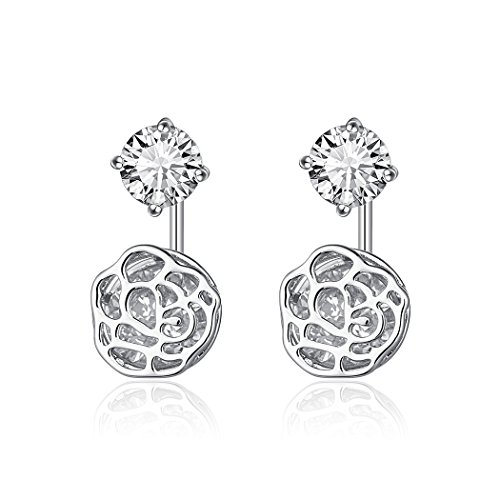 HONGYE Women's Diamond Hollow Flower Ball Lotus root Glass Pendant Stud - Glasses Womens Roots