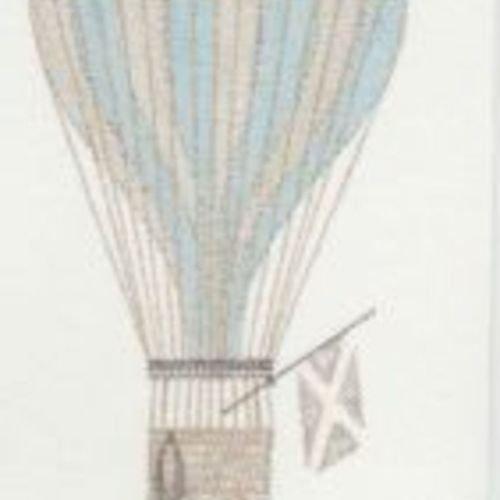 19146118 - Jules et Julie Blue Hot Air Ballon Casadeco Wallpaper Mural by Casadeco