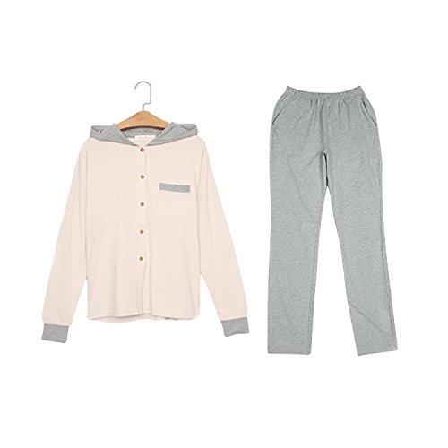 Dolamen Pijamas para mujer, Pijamas Mujer invierno, Mujer Hoodie Capucha camisones Pijamas de parejas, Algodón suave y cálido Manga larga y pantalones largos Rosado