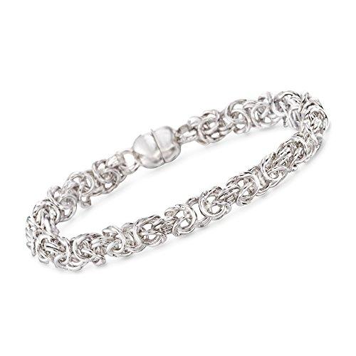 Ross-Simons Italian Andiamo 14kt White Gold Byzantine Bracelet White Gold Byzantine Bracelet
