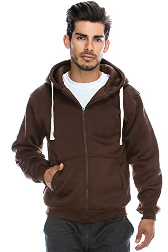JC DISTRO Plus Size Hipster Hip Hop Basic Heavy Weight Zip-Up Brown Hoodie Jacket 4XL by JC DISTRO