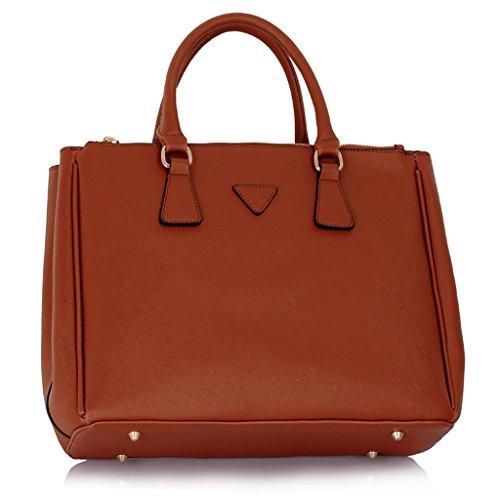 LEESUN LONDON - Bolsa mujer, color gris, talla Large Marron bolso