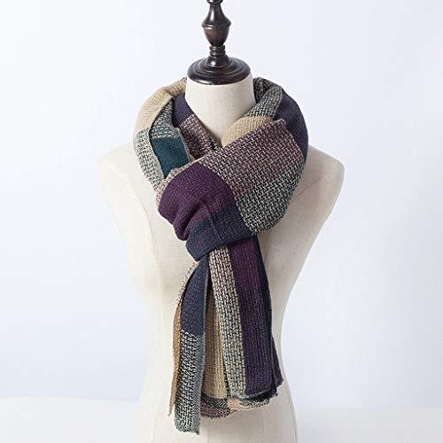 FarJing Women's Scarf Plaid Warm Thickening Trend Literary Versatile Knitted Bib Scarf (Green) by FarJing (Image #1)