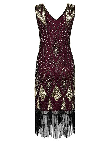 High end 1920s Flapper Dress Great Gatsby Party Evening Sequins Fringed Dresses Gown,D Dress,M,